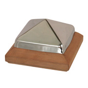 Traditional Miterless Post Cap™ base with stainless steel pyramid lid. The base is a Miterless design with NO Joints and the lid is a metal pyramid made of the thickest steel on the market. Put them together for a beautiful fence post top that will last a lifetime.