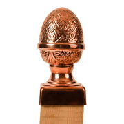 100% Copper Finial Pineapple with Slip Over Base Post Caps. Base and finial ship separately to ensure quality and protection. Two sizes available to fit posts measuring 4x4 and 6x6. Protects and improves the look of any yard investment and lasts a lifetime.
