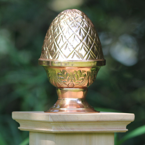 West Indies Miterless Post Cap™ base with screw-in Copper Finial Pineapple. Our Miterless New England Style base with NO joints or staples protects better than the rest and the Copper Finial Pineapple is made from the thickest copper on the market. Put them together for a beautiful fence or deck post cap that will last a lifetime.
