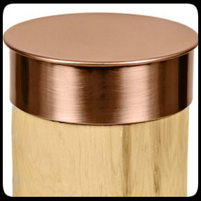 Nautical Round Copper Post Caps slide directly over the top of any size round post and protect for a lifetime. Lip spans 2 inches down the sides of posts and secures with glue or Liquid Nail. Various sizes available. 20 gauge thickest copper fence post caps on the market.