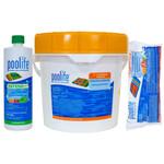 "Poolife Kit 50 lbs 3"" Tablets | 24 lbs Shock | 3-32oz Defend+"