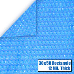 30' x 50' Rectangle Blue Solar Cover 12 Mil 5 Year Warranty
