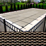 15x30 Rectangle 4x8 Center Steps Safety Cover Tan King Mesh 20 Year