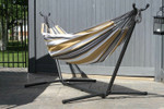 Vivere Brazilian Style Double Hammock with 9 ft. Stand - Desert Moon