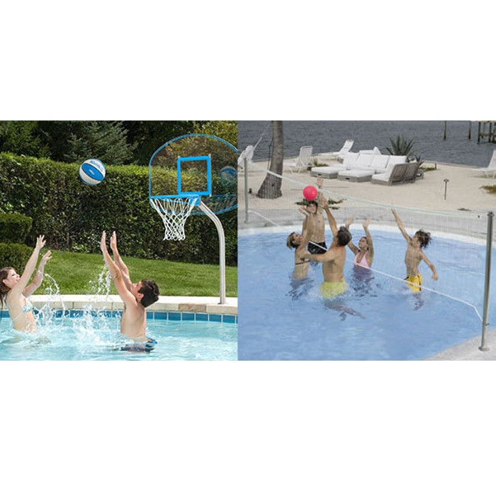 DunnRite Clear Hoop Jr. & Deck Volly Stainless Steel Pool Basketball &  Volleyball Game Set