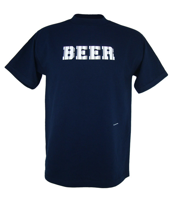New York Yankees Beer T Shirt Navy White Pinstripes Beer Locker