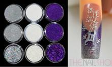 Christmas Glitter Colours for Nail Art (Purple, Silver & White)