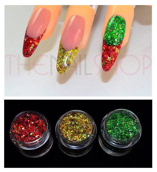 3PK Dazzling Christmas Glitter Mix for Nail Art (Red, Gold