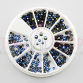 Black/Blue AB Rainbow Acrylic Flat Back Rhinestone Nail Art Wheel (2mm & 3mm)