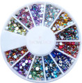 Coloured AB Round Raindrop Acrylic Rhinestone Nail Art Wheel 2.5mm (500PCS)
