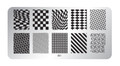 Pamper Plates Professional Nail Stamping Plates - Design #1 (Geometric Lines, Diagonal, Checkers, Chess, Netting)