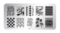 Pamper Plates Professional Nail Stamping Plates - Design #11 (Halloween, Checkers, Dollars, Hearts, Plants, Animal Stripes)