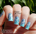 Example of Pamper Plates Professional Nail Stamping Plates - Design #17 (Music Notes, Guitars, Gulf, Flippers, Filigree, Geometric Fans, Snake Scales & More!)