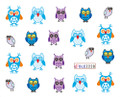 Blue & Purple Owl Hoot Style Water Nail Decals
