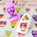 Pink, Purple & Green Owl Hoot Style Water Nail Decals