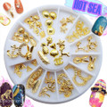 Gold Nail Charm Nail Art Wheel (12 Designs, 60PCS)