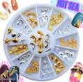 Gold & Silver Ocean Theme Nail Art Charm Wheel (12 Designs, 60PCS)