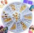 Gold & Silver Ocean Theme Nail Art Charm Wheel (12 Designs, 60PCS)