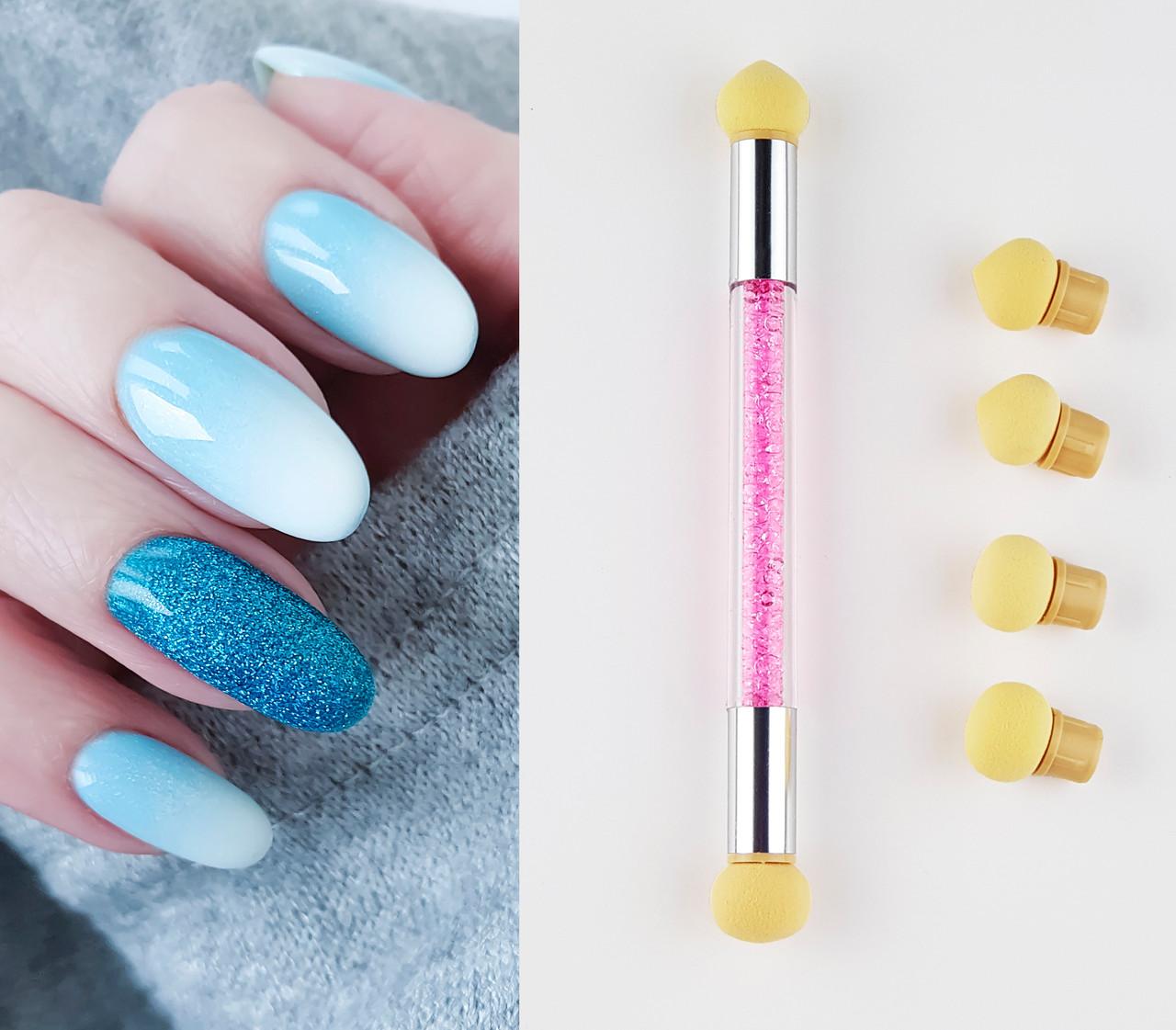 Dual Head Nail Art Sponge Pen Ombre Colour Shading Tool 6 Heads