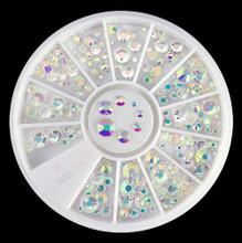 NEW Aurora Rainbow AB Crystal Flatback Rhinestone Wheel - 240PCS (1mm-5mm)