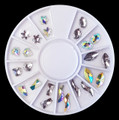 Clear & Clear AB Crystal Rhinestones Flatback Small Shapes Nail Art Wheel (24PCS, 6 Shapes)