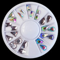 Shapes Clear & Clear AB Crystal Rhinestones Nail Art Wheel (24PCS, 7 Shapes)