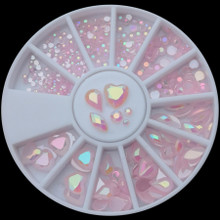 AB Jelly Pink Pearl Flatback Resin Rhinestone Nail Art Wheel Round & Shapes (300PCS). Princess Nails.