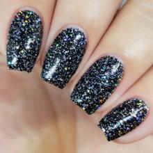 Kiara Sky Coloured Dip Powder - D436 Vegas Volt. Black Glitter Nails.