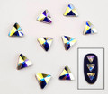 Large Clear AB Glass Triangle Flat Back Rhinestones for Nail Art (10PCS Per Bag)