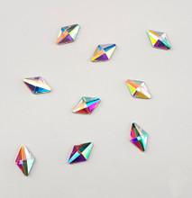 Large Clear AB Glass Diamond Flat Back Rhinestones for Nail Art (10PCS Per Bag) - 5mm X 8mm