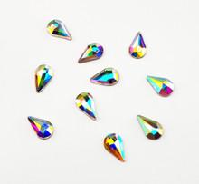 Large Clear AB Glass Teardrop Flat Back Rhinestones for Nail Art (10PCS Per Bag) - 8mm X 5mm