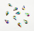 Large Clear AB Glass Teardrop Flat Back Rhinestones for Nail Art (10PCS Per Bag) - 8mm X 5mm
