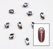 Large Clear Glass Oval Flat Back Rhinestones for Nail Art (10PCS Per Bag) - 4mm X 6mm
