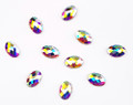 Large Clear AB Glass Oval Flat Back Rhinestones for Nail Art (10PCS Per Bag) - 4mm X 6mm