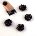 3D Nail Art Resin Roses Flowers (6mm) - Black