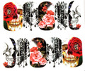 Spooky Skull & Roses Nail Art (Water Decals) - Great for Halloween!