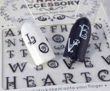 Fancy Black Capital Letters Text Nail Art Stickers (Black or White). Great for Halloween!
