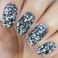 Kiara Sky Coloured Glitter Nail Dip Powder - Graffiti D462. Speckled Black & White Glitter Nails.