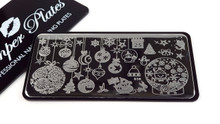 Stamping Plate. Christmas Baubels, Stars, Calendar, Trees, Snowman, Holly, Santa Sleigh, Snow & More!