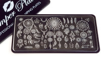 Pamper Plates Professional Nail Stamping Plates - Design #36 (Dream Catchers, Feathers, Crystals & More!)
