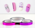 Wavy Striping Nail Art Tape (2mm) - Metallic Pink, Purple & Silver