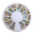 Clear AB Gold Flatback Crystal Mixed Rhinestone Wheel - 240PCS (1mm-5mm)