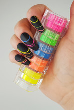 Neon Rainbow Ombre Nails with Spider Gel