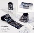 12 Rolls Bulk Pack Christmas Nail Art Transfer Xmas Foils (Black, White & Silver)