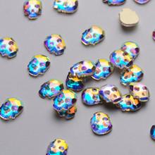 30PCS Skull Flatback Rhinestones Crystal AB for Nail Art - Great for Halloween! (6mm*8mm)