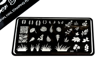 Pamper Plates Professional Nail Stamping Plates - Design #49 (Leaves & Plants)