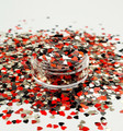 Red, Gold, Black Heart Glitter Mix for Nail Art 3mm