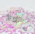 Pink White Iridescent Butterfly Glitter for Nail Art 3mm - 1oz Bag