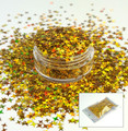 TNS Gold Laser 4 Point Star Glitter for Nail Art 4mm - 1oz Bag