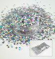 TNS Silver Laser 4 Point Star Glitter for Nail Art 4mm - 1oz Bag